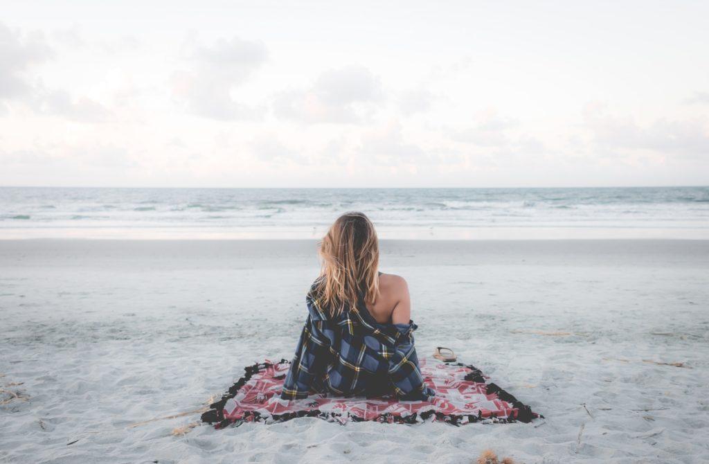 woman calm at beach
